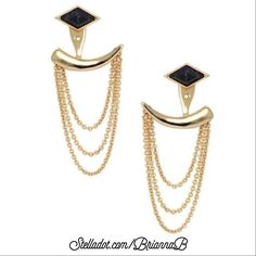 "Stella & Dot Drape Ear Jackets Delicate yet dramatic chains cascade from a chic black or shiny gold stud to bring you from work day to a night on the town. A total of 4 unique looks, the interchangeable stud sets can be worn alone, or with the shiny gold ear jacket for a statement - 4 looks in all! Shiny Gold Plating 1 3/4"", Featherweight Titanium Posts  $49 online at www.stelladot.com/briannab Stella & Dot Jewelry Earrings"