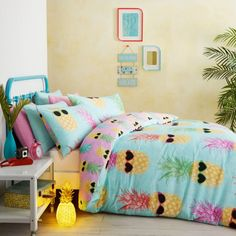 Buy Catherine Lansfield Funky Pineapple Bedding Set - Multi We've got top products at great prices including fashion, homeware and lifestyle products. Bed Duvet Covers, Duvet Sets, Duvet Cover Sets, Funky Bedroom, Girls Bedroom, Bedroom Themes, Bedroom Decor, Bedroom Ideas, Bedding Decor