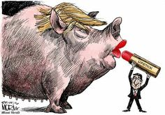 Even with lipstick, Trump is still a pig...