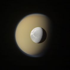 Titan and Dione, two of the moons of Saturn.