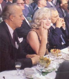 Marilyn with George Cukor and Joshua Logan and the Khouchtchev Party, 19th September 1959.