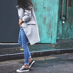 """That coat with denim Credit: @pepamack #fashionlocker123"""
