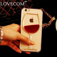 LOVECOM For iPhone 6 6S Plus  4 4S 5C 5 5S SE 7 7 Plus Phone Case Liquid Quicksand Red Wine Glass transparent hard back Cover ** Click the VISIT button to find out more