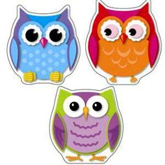Colorful Owls Cut-Outs - cookie inspiration going to make these for my granddaughters birthday