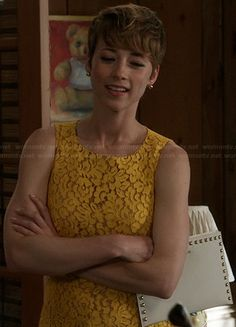 Margaux's yellow lace dress and studded clutch on Revenge.  Outfit Details: http://wornontv.net/21410/ #Revenge