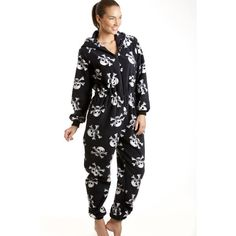 621dad35dfa Camille Womens Ladies All In One Black And White Skull Print Hooded Fleece  PJs 18
