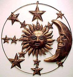 / sun and moon / Sun Moon Stars, Sun And Stars, Outdoor Wall Art, Outdoor Walls, Metal Walls, Metal Wall Art, Outside Wall Decor, Wiccan Decor, Moon Decor