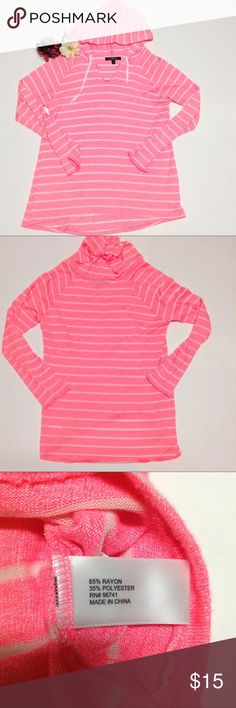 Neon Pink and White Striped hoodie City Streets neon pink oversized hoodie super cute and casual extremely soft size XL spot on the back pictured above City Streets Tops Sweatshirts & Hoodies