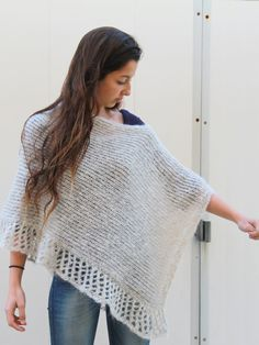 Gray Poncho, knitted Poncho, Knit Lace Shawl, Hand Knit Wrap,