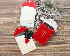 The Stitched Tag Three Ways – Stitched Tag Trio by Lizzie Jones for Papertrey Ink (December Christmas Gift Tags, All Things Christmas, Holiday Cards, Christmas Ornaments, Boxes And Bows, Diy And Crafts, Paper Crafts, Felt Embroidery, Christmas Projects