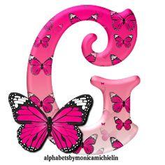 Alphabets by Monica Michielin: ALFABETO BORBOLETA ROSA, PINK BUTTERFLY ALPHABET Alphabet Letters Design, Alphabet Images, Alphabet Art, Monogram Alphabet, Letter Art, Alphabet Wallpaper, Name Wallpaper, Butterfly Wallpaper, Pink Butterfly