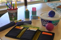 Road Trip Ideas. Best ideas for a 1 year old! Sensory items from around the house!