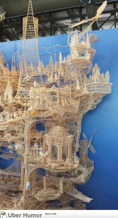 Made with nothing but toothpicks.Took 37 years to make and this is only part of it.