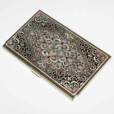 """$19.95  Size: 3.7""""W x 2.4""""D (9.5 x 6cm)   You could put 20 sheet of business card.  Lacquer wares inlaid with Mother of pearl    Najeon Chilgi, the wooden lacquerware inlaid with Mother-of-Pearl, is truly a cultural asset of Korea.   The art of Najeon Chilgi is used to make items from jewelry boxes to chests, dressers and desks.    The two main materials used in making Najeon Chilgi are the lacquer coating and mother-of-pearl."""
