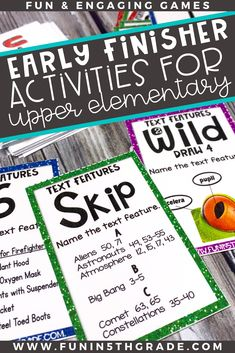 Are you struggling with what to do with early finishers in the upper elementary classroom?  Check out this post for ideas and tips for giving your early finisher students meaningful choices when they finish their work early. Includes free book review activity and editable choice boards to help get your students being independent with they finish early!
