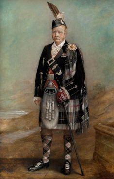 "Tartan Plaid: Oil Painting of ""Clan Chief Macpherson of Cluny, Ewen Henry Davidson"" by J. Scottish Dress, Scottish Fashion, Scottish Clans, Scottish Tartans, Scottish Kilts, Scotland History, Steampunk, Men In Kilts, Highlanders"