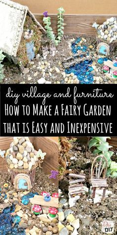 How+to+make+your+own+Easy+DIY+Fairy+Garden+House+complete+with+simple+accessories+you+can+make+to+create+your+own+homemade+miniature+village.+Cheap+ideas!