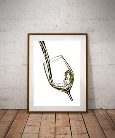 White wine splash art, wine lovers art, art for wine drinker, wine splash