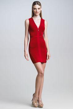 $315.00  Herve Leger Front-Zip Bandage Dress