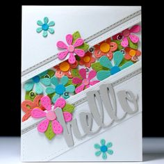 FAUX-shaker hello card by Lisa Harrolle.... LOVE this all-die colorful card!!