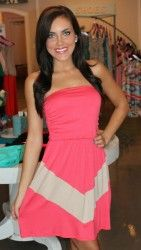 Coral & Taupe Chevron Dress