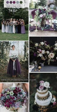 shades of purple and sage green whimsical woodland wedding colors Wedding Reception Hairstyles, Intimate Wedding Reception, Small Intimate Wedding, Wedding Trends, Wedding Styles, Wedding Ideas, Wedding Stuff, Spring Bridesmaid Dresses, Wedding Bridesmaid Dresses
