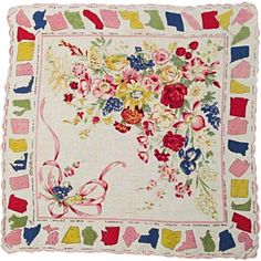 Unusual Handkerchief with All 48 State Flowers, 1950s