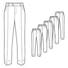 Mens Formal Trousers Technical Drawings