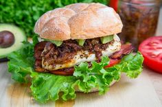 Bacon Jam Chicken Club Sandwich with Avocado and Chipotle Mayo #recipes