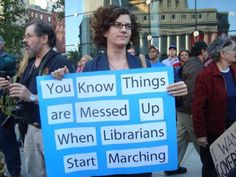 Funny Political Protest Signs: Librarians Marching