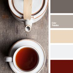 beige, brown red, burgundy, color of tea, color palette, color solution, dark gray, gray-brown, off-white, selection of color, shades of gray, shades of gray and brown, warm shades.