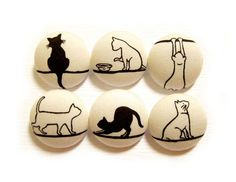 6 Large Fabric Buttons Set - Leisurely Cats on Cream. $8.00, via Etsy.