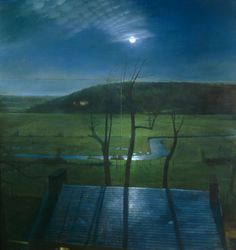 Randall Exon, Moon Over Pocopson Creek  Oil Painting  72x68in  2003
