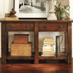 Traditional Living Room Decor with Pottery Barn Rustic Dark Mahogany Stain Console Table With Two Drawers · ‹