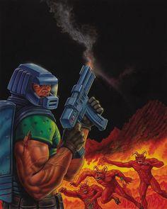 Don Ivan Punchatz Doom cover art for Electronic Gaming Monthly Retro Video Games, Video Game Art, Doom 1993, Doom Cover, John Romero, Doom Demons, Doom Game, Arte Hip Hop, Slayer Meme