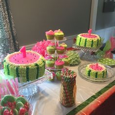 "Watermelon cakes for a ""One in a melon"" party"