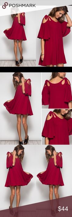 """❤️LAST ONE❤️  Tie Bow Shoulder Maroon Flirty Dress Beyond gorgeous! Cut out shoulder skater mini dress in a perfect fall maroon color. Comes with a bra length camisole attached to hide any bra marks! Sizes S M L, brand new. Small 0-4, med 6-8 large10-12. 35"""" length Dresses Mini"""