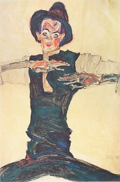 Self-portrait with brown hat - Egon Schiele 1910 Austrian Charcoal and Gouache , x 31 cm Gustav Klimt, Self Portrait Art, Oil Painting Reproductions, Art Moderne, Painting & Drawing, Fine Art America, Modern Art, Art Drawings, Illustration Art