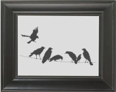 """Birds on a Wire"" - From CrassCross. The cross stitch pattern to make this piece is available for just $5. http://crasscross.com/collections/miscellaneous/products/birds-on-a-wire-cross-stitch-pattern-chart"
