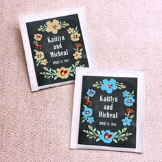 Vintage Blossoms Chalkboard Personalized Tea Favors  Personalized individually packaged tea bags present an idea that's right in sync with your tastes and gives bridal couples a new alternative to traditional wedding favors!