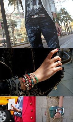 Hi-Lo with lots of bracelets.