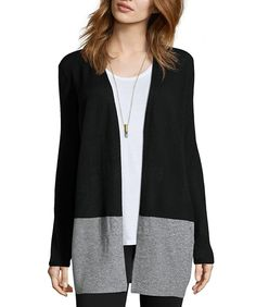 Hayden Black And Grey Cashmere Color Block Open Cardigan