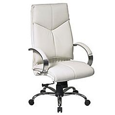 Office Star Pro Line II Deluxe High Back Leather Chair 47 H x 25 14 W x 27 D White by Office Depot & OfficeMax