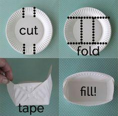 Cómo hacer una cesta para galletas con un plato de papel