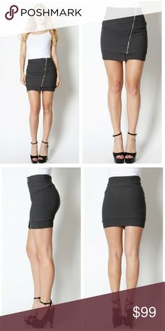 🆕Charcoal mini skirts with zipper Perfect for a night out with the ladies!  73% Rayon 23% Nylon 4% Spandex  Bundle for 20% discount! October Love Skirts Mini