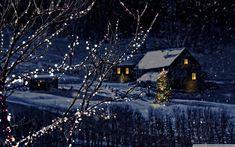 Fotogalerie zasněžených krajin Bokeh, Bing Images, Christmas Tree, Cabin, Snow, Night, House Styles, Wallpaper, Winter