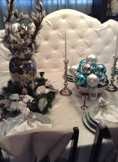 Winter Themed Christmas Tablescape | Blue and Silver Christmas Table Décor