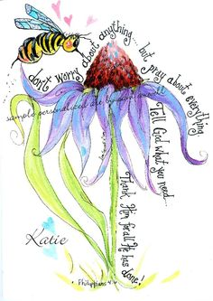 HAPPY FLOWERS - The Bee & the Blue Coneflower 5x7 Print