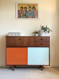 1960s Avalon Orange & White Glass Fronted Sideboard Retro Danish Vintage Heals in Antiques, Antique Furniture, Sideboards | eBay
