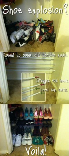 tension rods to hold & organize shoes. so smart! - Click image to find more DIY & Crafts Pinterest pins.